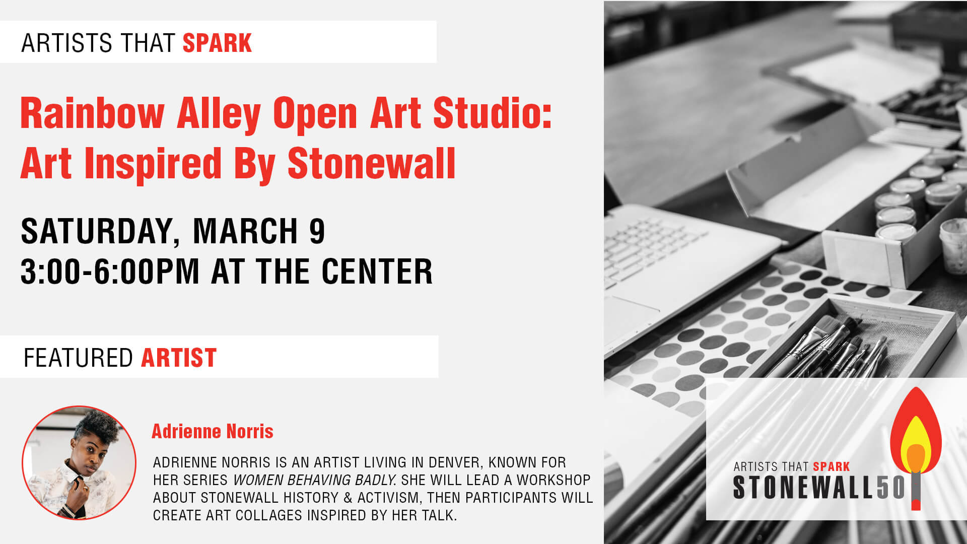 Artists That Spark - Rainbow Alley Open Art Studio: Art Inspired by Stonewall